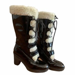 Tod's Italian Leather Sherpa Lined Lace Up Boots